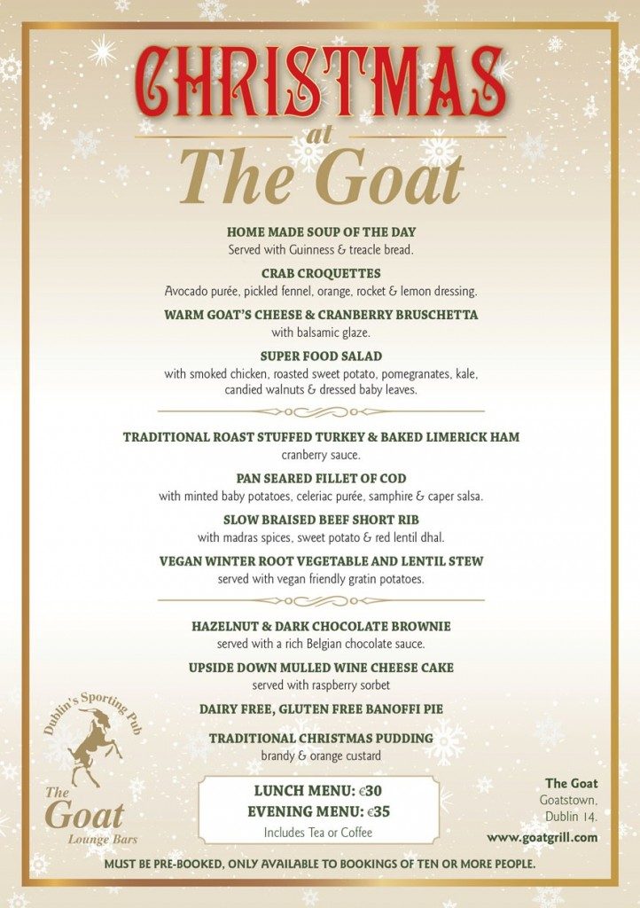 Goat Christmas Menu
