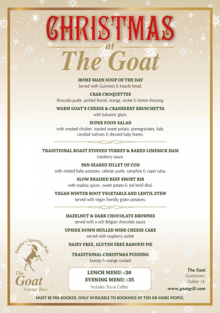 Goat Christmas Menu